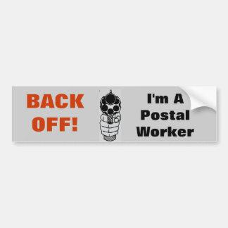 Back-Off I'm a Postal Worker Funny Sticker Bumper Sticker