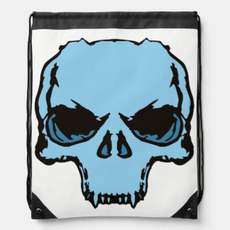 back pocket Blue Skull Drawstring Bag