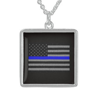 BACK THE BLUE SUPPORT POLICE SQUARE NECKLACE