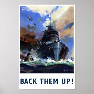 Back them up Vintage Military Poster