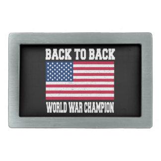 back to back world war champion rectangular belt buckle