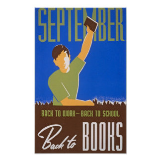 Back to Books Vintage Poster