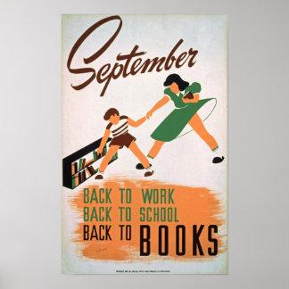 Back to Books Vintage Poster