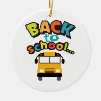 BACK TO SCHOOL BUS ROUND CERAMIC DECORATION