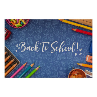 Back To School Chalk and Stationary Poster