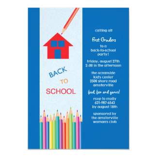 Back to School Colored Pencils Invitation