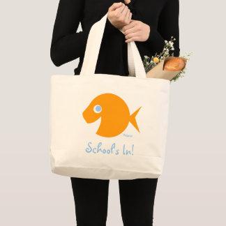 Back To School Cute Blue-Eyed Goldfish Teacher Large Tote Bag