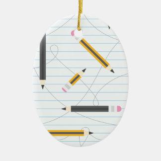 Back to School Pencils Ceramic Oval Decoration