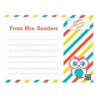 Back to School Teacher's Postcard - Owl Theme