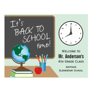 Back To School Time Personalised Teacher Postcard