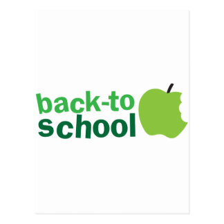 back to school with green apple post card
