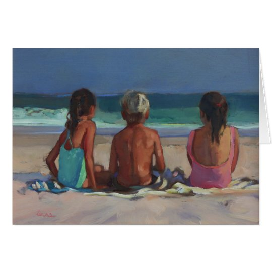 'Back to the Beach' - children enjoying the beach Card