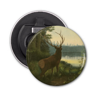 Back view of Elk Looking over a Lake Bottle Opener