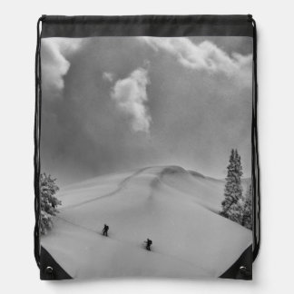 Backcountry Ski Climbers in fresh powder Cinch Bag