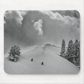 Backcountry Ski Climbers in fresh powder Mousepad