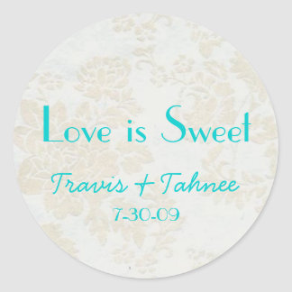 background1, Travis & Tahnee, 7-30-09, Love is ... Classic Round Sticker