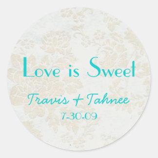 background1, Travis & Tahnee, 7-30-09, Love is ... Round Sticker