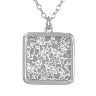 Background of a part of a body silver plated necklace