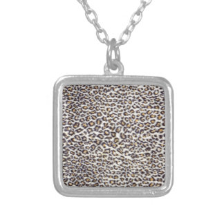 Background of black brown spotted animal fur square pendant necklace