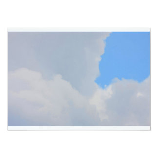 Background of blue sky and clouds. 13 cm x 18 cm invitation card