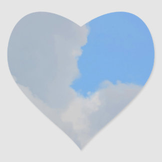 Background of blue sky and clouds. heart sticker
