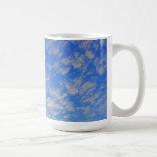 Background of blue sky. basic white mug