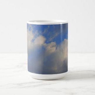 Background of blue sky. mugs