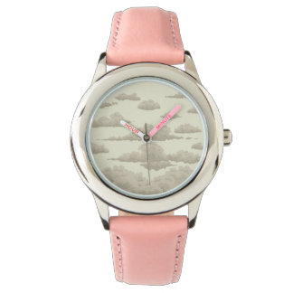 background of clouds in the sky in vintage style watch