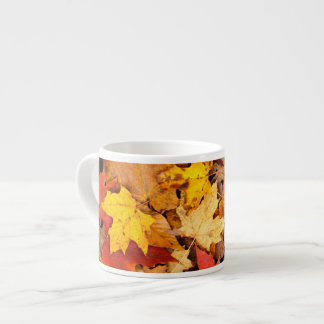 Background Of Colorful Autumn Leaves On Forest Espresso Cup