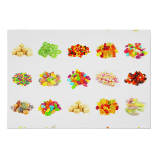 Background of Colorful Candy of Assorted Types Poster