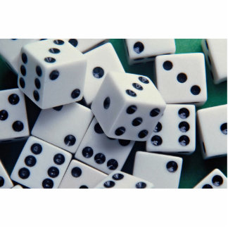 Background of dice standing photo sculpture