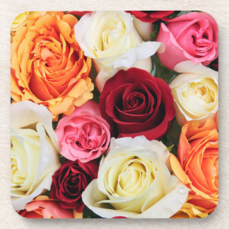 Background of rose blossoms drink coasters