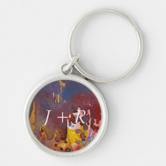 background watercolor 8 Silver-Colored round key ring