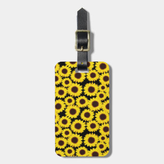 Background with sunflowers luggage tag