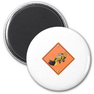 Backhoe Cartoon Construction Sign 6 Cm Round Magnet