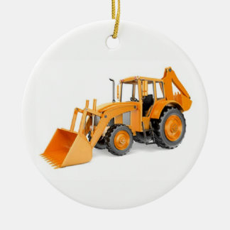 Backhoe Ceramic Ornament