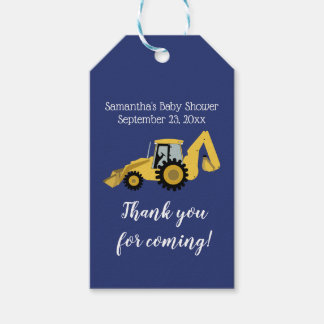 Backhoe Construction Baby Shower Gift Tag