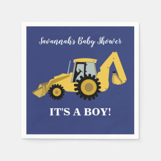 Backhoe Construction Boy Baby Shower Napkins Disposable Napkin