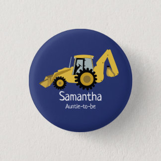 Backhoe Construction Name Tag Customised Button
