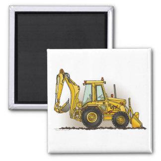 Backhoe Square Magnet