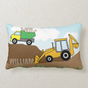 ac1bd522e73f8d Backhoe with Loader and Dump Truck Personalized Lumbar Cushion