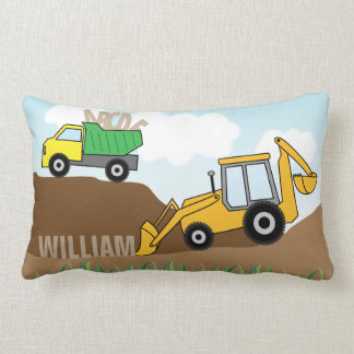 Backhoe with Loader and Dump Truck Personalized Lumbar Cushion