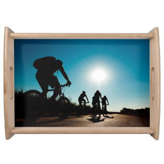 Backlit Bicycle Riders Serving Tray