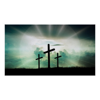 Backlit Calgary Crosses with Clouds Easter Poster