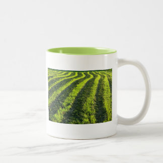 Backlit farmland Two-Tone coffee mug