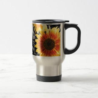 Backlit Sunflower with B&W Travel Mug