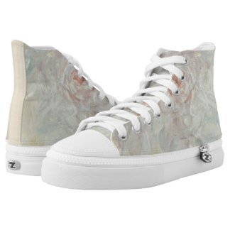 Backlit Whites, Floral Feet High Tops