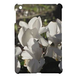 Backlits white cyclamen flowers on dark background case for the iPad mini