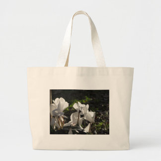 Backlits white cyclamen flowers on dark background large tote bag