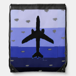 Backpack with aircraft in blue